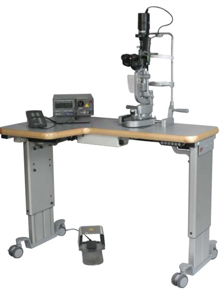 Rini Twin Column Wheelchair Accessible Table for slit lamps